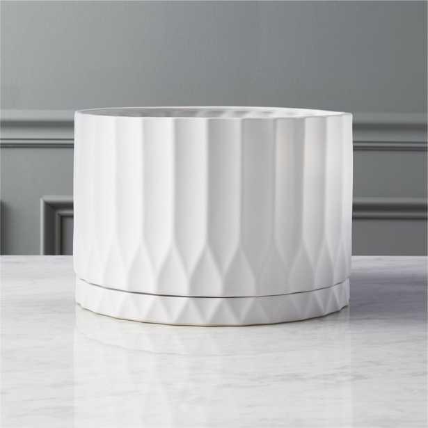 drum white planter - CB2