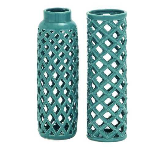 2 Piece Vase Set - Blue Green - Wayfair