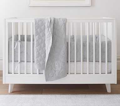 Belgian Linen Quilt Set, Gray with Broken Arrow Crib Fit - Pottery Barn Kids