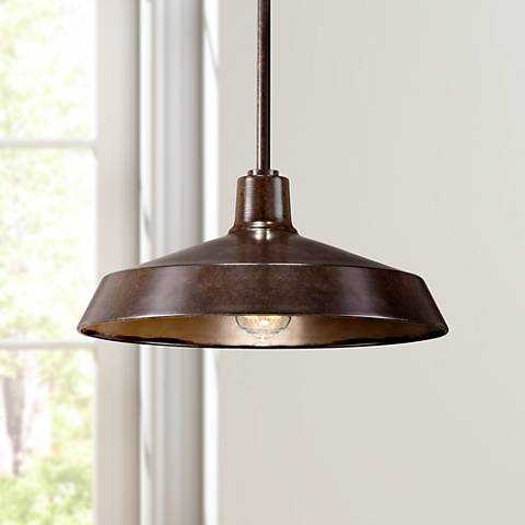 "Warm Bronze 15"" Wide Industrial Pendant Light - Lamps Plus"