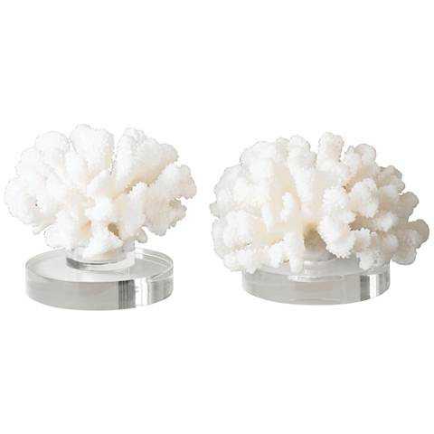 Uttermost Hard Cream Coral Piece Accent Sculpture Set 2 - Lamps Plus