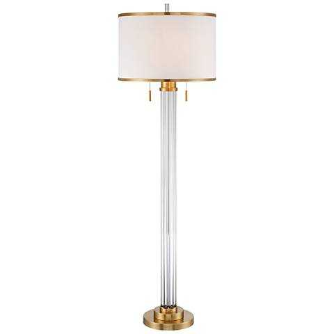 Possini Euro Cadence Crystal Column Floor Lamp Satin Brass - Lamps Plus