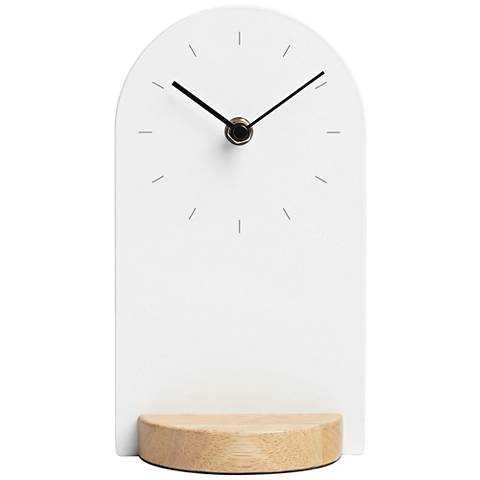 """Sometime White and Natural 9"""" High Desk Clock - Lamps Plus"""