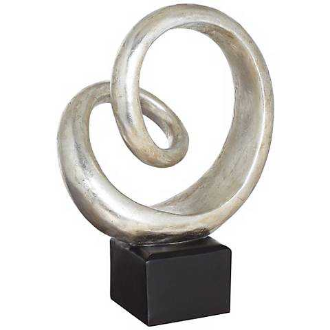 """Silver Slanted Spiral 16"""" High Sculpture - Lamps Plus"""