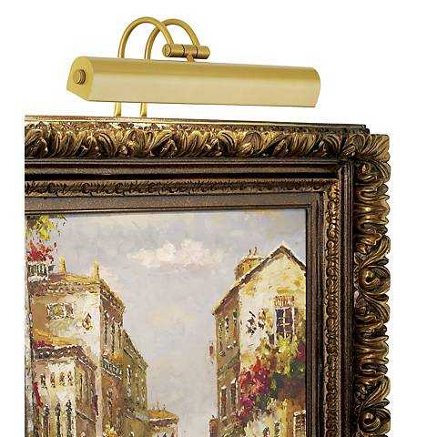 """Light Gold 16"""" Wide Plug-In Picture Light - Lamps Plus"""