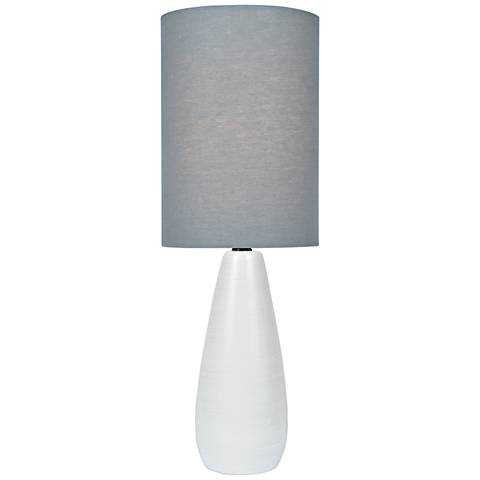 """Quatro 17""""H White Modern Accent Table Lamp with Gray Shade - Lamps Plus"""