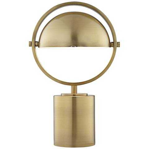 Drome Brushed Brass Space-Age Industrial Accent Table Lamp - Lamps Plus