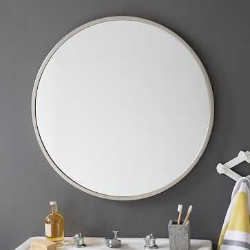 Metal Framed Round Mirror, Brushed Nickel - West Elm