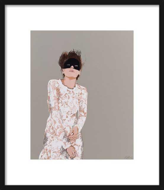 "Woman in Mask - 14"" x 17"" - Black Frame - No mat - Artfully Walls"