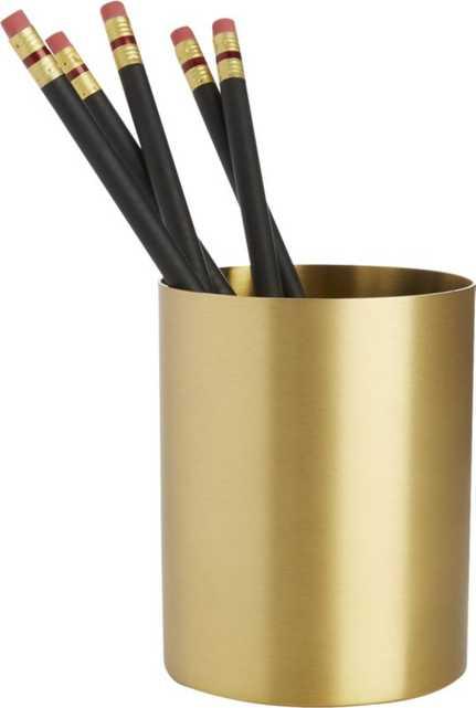 Solid Brass Studio Pencil Cup - CB2