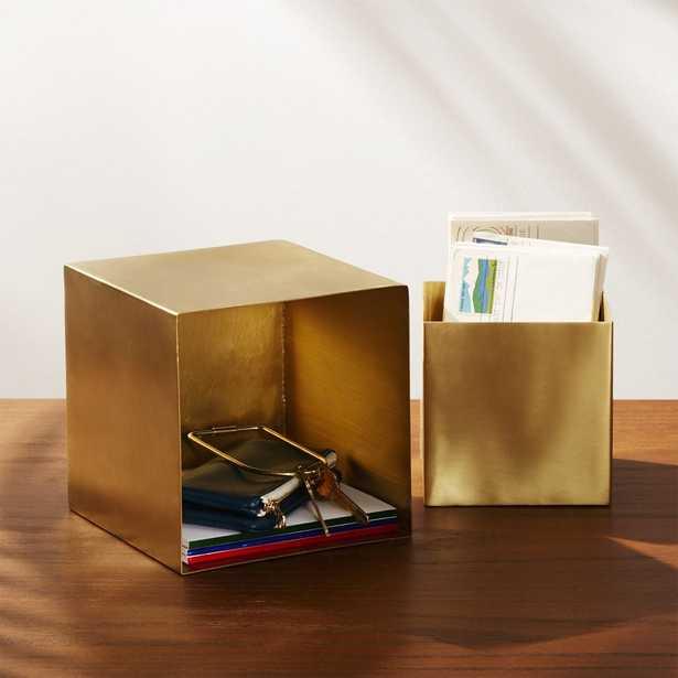 2-Piece Small Solid Brass Studio Storage Box Set - CB2