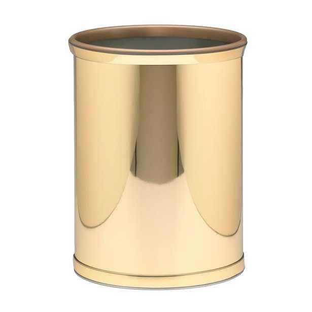 Mylar 13 Qt. Polished Brass Oval Waste Basket, Gold Metallic - Home Depot