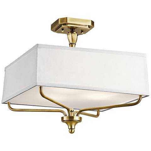 """Kichler Arlo 15"""" Wide Natural Brass Square Ceiling Light - Lamps Plus"""