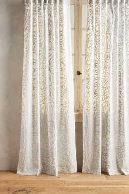 "Petalwood Curtain, Ivory, 50""W x 84""L - Anthropologie"