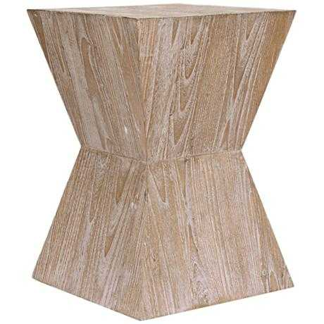 "Martil 14"" Wide Distressed Oak Wood Modern Side Table - Lamps Plus"