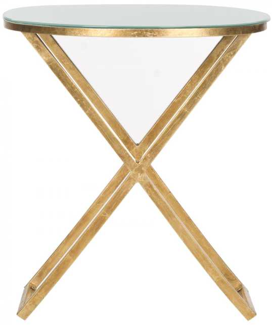 RIONA ROUND TOP ACCENT TABLE - Gold with White Glass Top - Arlo Home