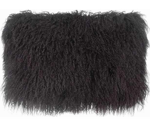 "Milan Lumbar Pillow, 12""x 20"", Black - Studio Marcette"