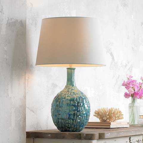 Mid-Century Teal Ceramic Gourd Table Lamp - Lamps Plus
