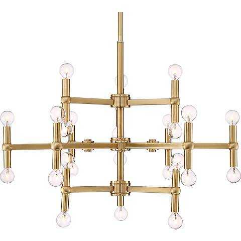 """Possini Euro Clark 32"""" Wide Satin Brass 24-Light Chandelier - Lamps Plus"""