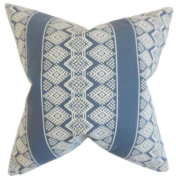 "Zadock Geometric Pillow Blue - 18"" x 18""- Poly Insert - Linen & Seam"
