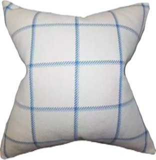 "Wilmie Plaid Pillow Blue - 18"" x 18"" - Down Insert - Linen & Seam"