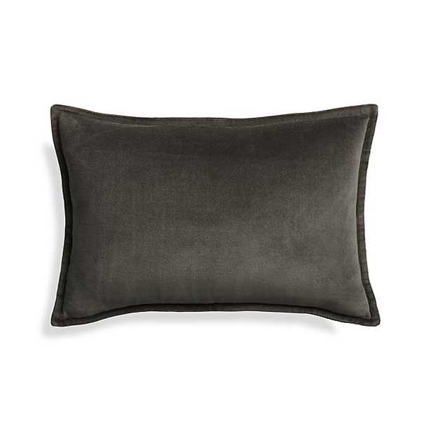 """Brenner Grey 18""""x12"""" Pillow - Crate and Barrel"""
