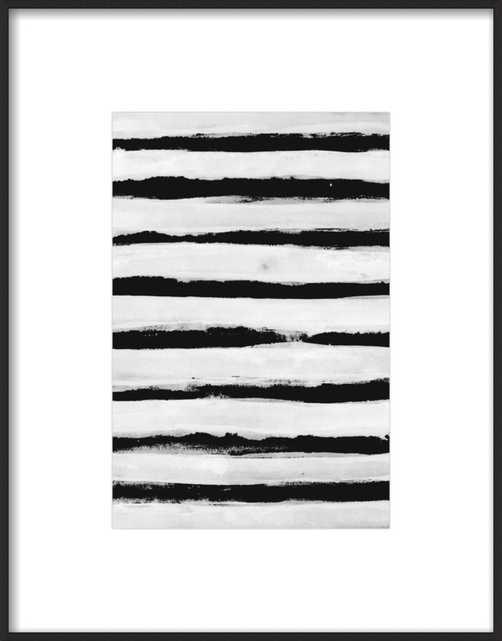 "Black and White Stripes, 10""X 14"", Matte Black Metal Frame; with matte - Artfully Walls"