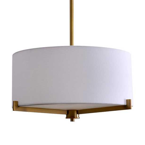 3-Light Brass Semi-Flush Mount Light with Fabric Shade - Home Depot
