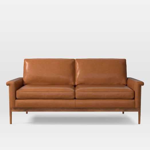 "Leon Wood Frame Leather Loveseat (68"") - West Elm"