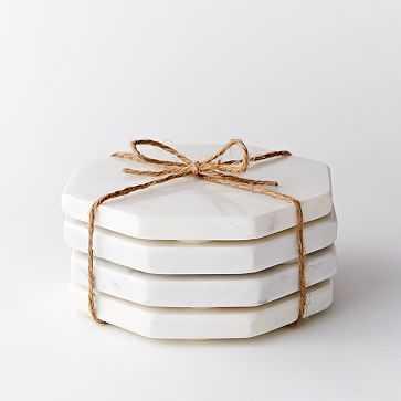 Hex Stone Coasters, White - Set of 4 - West Elm