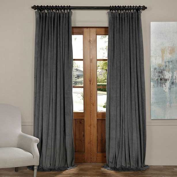 Signature Natural Grey Doublewide Blackout Velvet Curtain - 100 in. W x 108 in. L (1 Panel) - Home Depot
