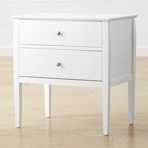 Mason 2-Drawer White Nightstand RESTOCK:MID JULY - Crate and Barrel