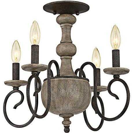 """Quoizel Castile 18"""" Wide Rustic Black Ceiling Light - Lamps Plus"""