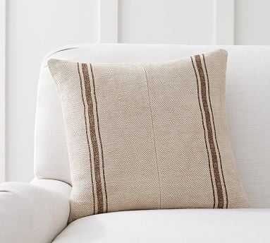 "Pieced Grainsack Stripe Pillow Cover, 18"", Neutral - Pottery Barn"