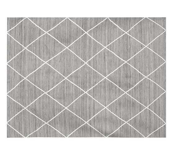 Jute Lattice 8'x10' Rug, Gray/Ivory - Pottery Barn