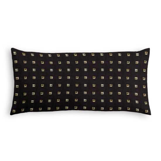 """Lumbar Pillow Stud Muffin - Black - 12"""" x 24"""" - Down Insert - Loom Decor"""