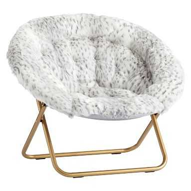 Hang-A-Round Chair, Gray Leopard Faux-Fur w/ Gold Base - Pottery Barn Teen