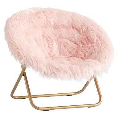 Hang-A-Round Chair, Himalayan Blush Faux-Fur w/ Gold Base - Pottery Barn Teen