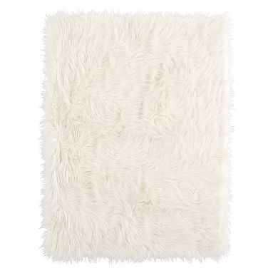 Furific Fur Throw, 45x60, Himilayan Ivory - Pottery Barn Teen