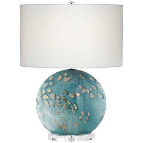 Calypso Blue Sea Round Art Glass Table Lamp - Lamps Plus