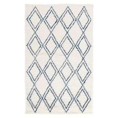 Diamond Shag Rug, 5'x8', Ivory/Navy - Pottery Barn Teen