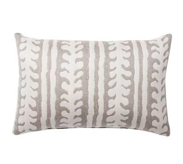 "Sunbrella(R) Saratoga Indoor/Outdoor Pillow, 12 X 18"", Gray - Pottery Barn"