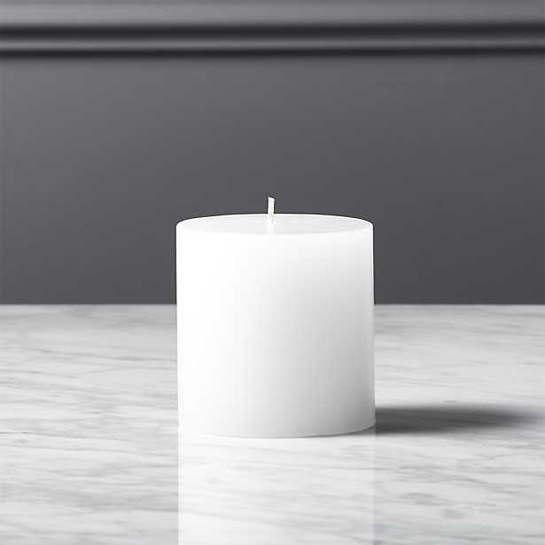 """3""""x3"""" white pillar candle"" - CB2"