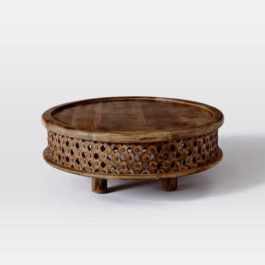 Carved Wood Coffee Table - Cafe - West Elm