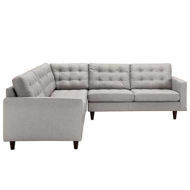 EMPRESS 3 PIECE UPHOLSTERED FABRIC SECTIONAL SOFA SET IN LIGHT GRAY - Modway Furniture