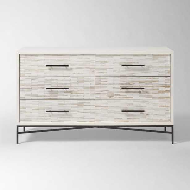 Wood Tiled 6-Drawer Dresser, Whitewash - West Elm