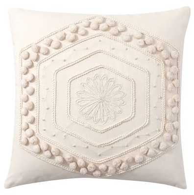 POM POM EMBROIDERED PILLOW COVER - WHITE - Pottery Barn
