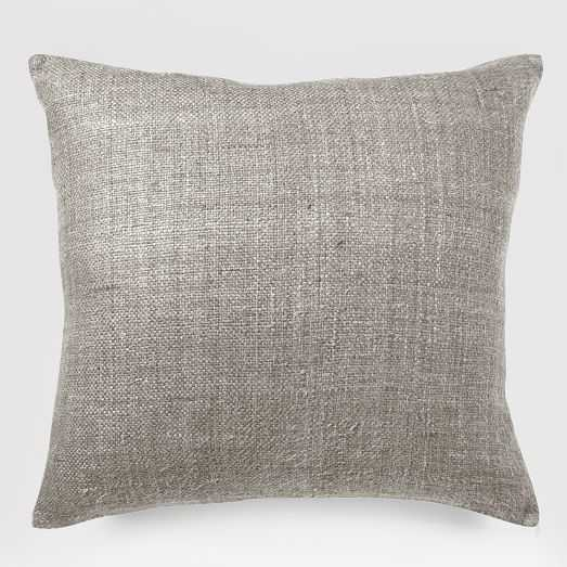 """Silk Handloomed Pillow Cover, 20""""x20"""", Platinum - West Elm"""