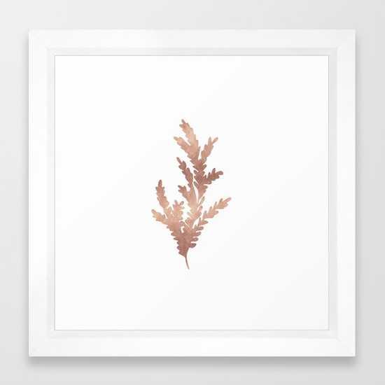 "Rose Gold Branch - 12"" x 12"" - Vector White Frame - Society6"
