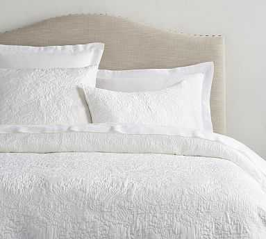 Monique Lhuillier Blossom Embroidered Quilt, King/Cal. King, White - Pottery Barn
